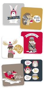 Woodland Animals Christmas Stickers