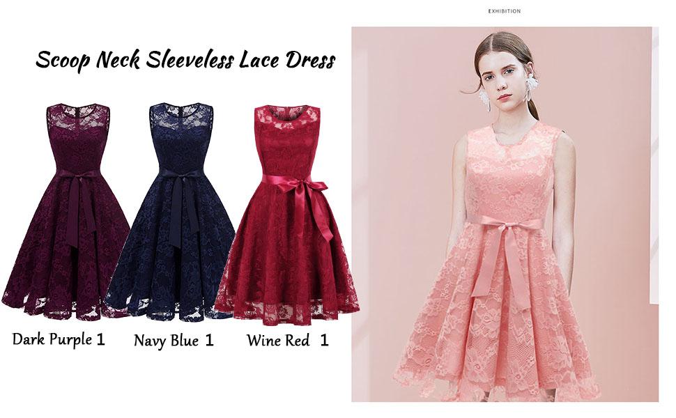 scoop neck sleeveless lace dress