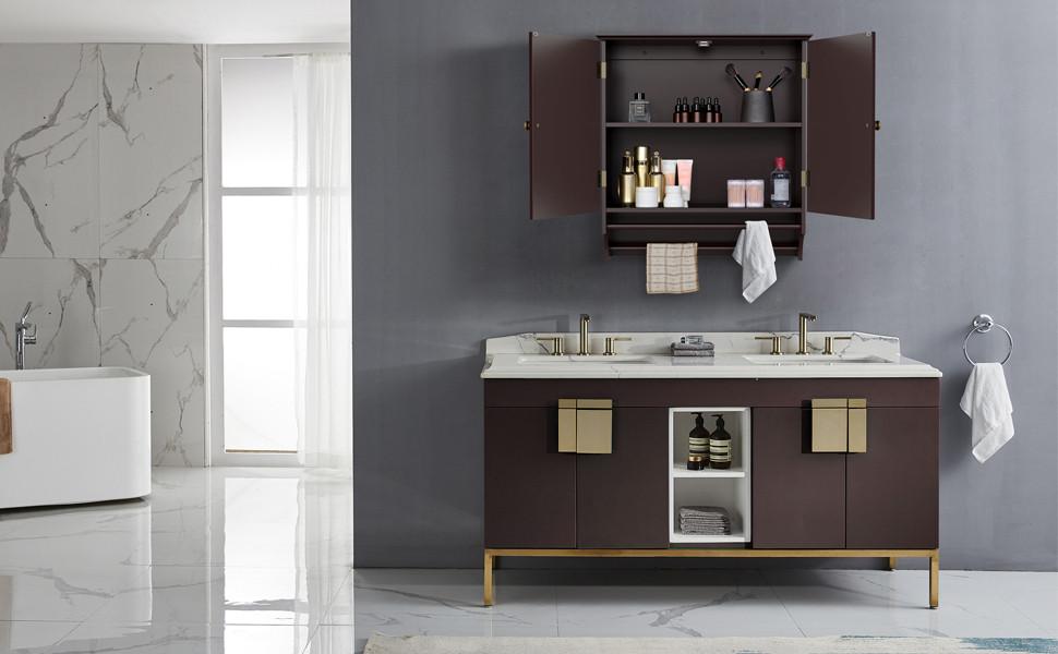 Yaheetech Bathroom Kitchen Wall Storage Cabinet Collection Wall Cabinet 2 Door Wall Cabinet Espresso
