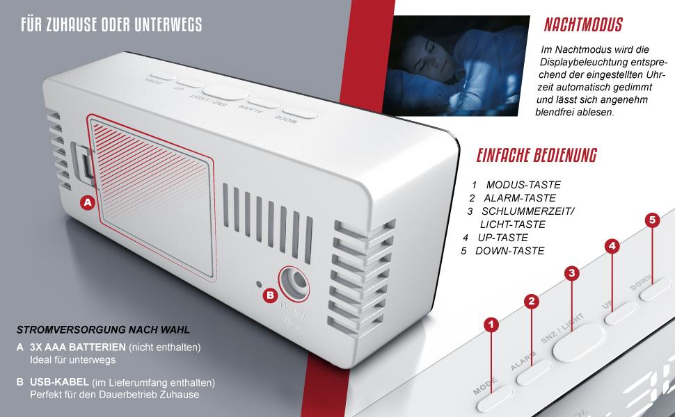LED Wecker digital inkl. Temperaturanzeige, Schlummerfunktion, Nachtmodus - 2X Helligkeitsstufen