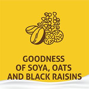 goodness of soya, oats and black raisins