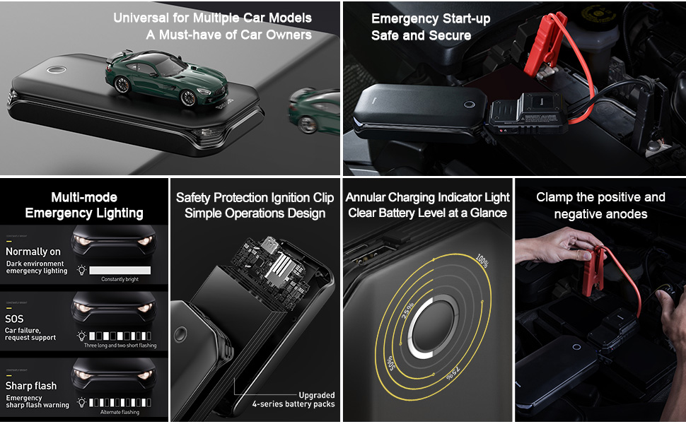 Baseus Arrancador de Coche,Jump Starter de 12V 800A/8000mAh Arrancador de Batería de Coche para hasta 4L de Gasolina y 2.5L Diesel Motores (con Puerto USB, USB de CargaRápida, LEDLuz): Amazon.es: Coche y