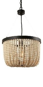 wooden bead pendant light