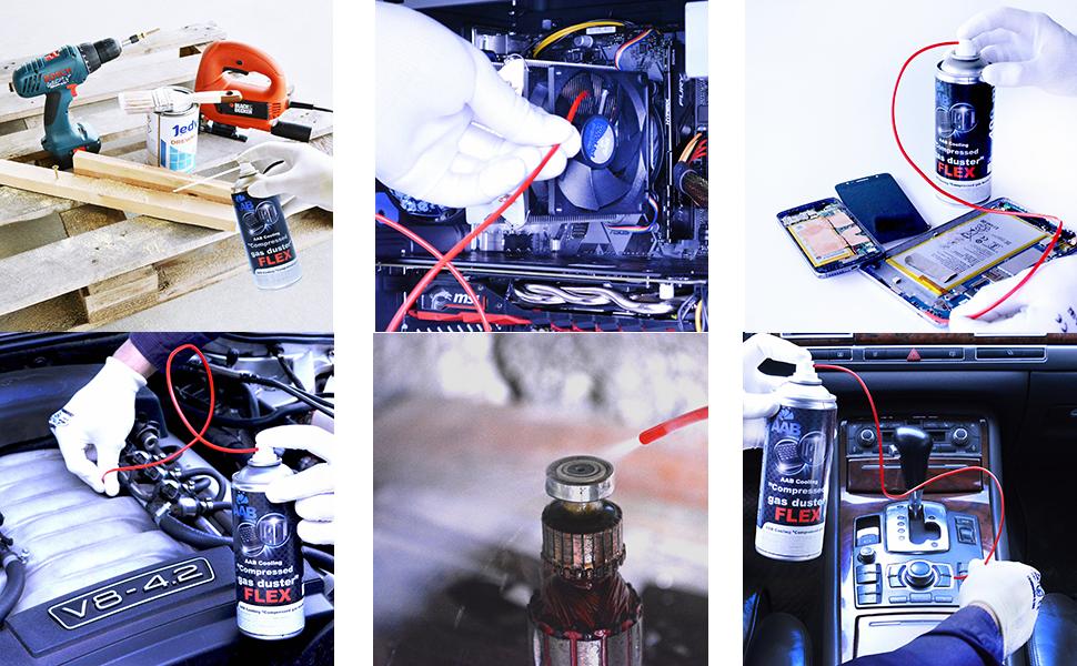 AABCOOLING Compressed Gas Duster FLEX 400ml - Conjunto de 2 - Spray Aire Comprimido con un Tubo Flexible, Limpiar Teclado, Limpia Polvo, Botella de ...