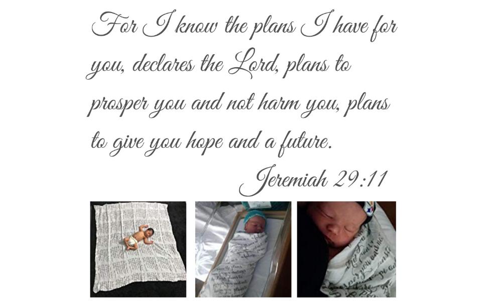 newborn baby infant swaddle receiving blanket best baby shower gift scripture verse jeremiah 29