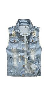 DOHAOOE Men's Camo Ripped Denim Vest Retro Stitching Outdoor Sleeveless Jacket