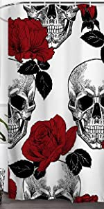 Skulls Shower Curtain Sugar Roes Flowers Skull Skeleton Halloween Waterproof
