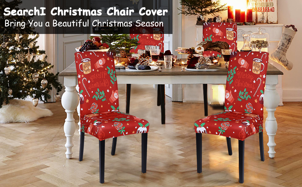 Amazon Com Searchi Dining Room Chair Covers Stretch Christmas Chair Covers For Dining Room Christmas Decoration High Back Chair Covers For Dinning Decoration Christmas Restaurant Holiday Festival Party Decor Kitchen Dining