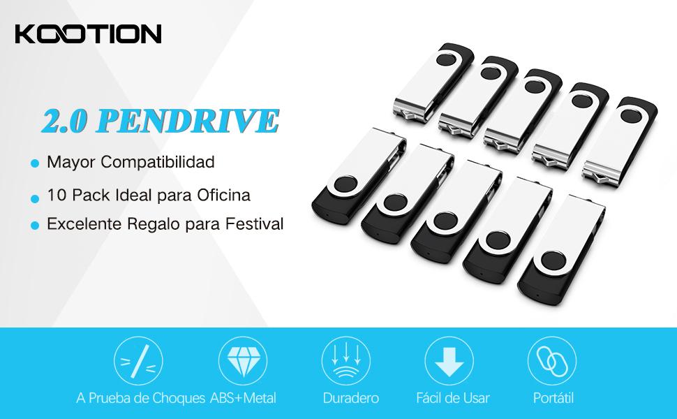Memoria USB 2GB 2.0, KOOTION Pendrive USB Flash Drive, Pack de 10 Unidades, Pen Drive 10 Piezas Pen USB Stick, Negro y Plata: Amazon.es: Electrónica