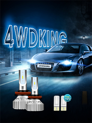 4WDKING H11 LED Headlight Bulbs Fanless Super Bright Low Beam Fog Light 60W 8000LM 6500K Cool White High Beam H8//H9 Conversion Kit with T10 x2