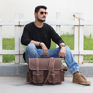 Handmade World 16 Inch Buffalo Leather Briefcase Laptop Messenger Bag crossbody satchel shoulder