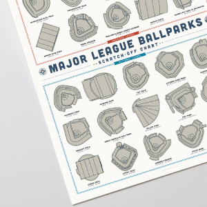 Photo of bottom left corner of Baseball Stadium poster on gray background