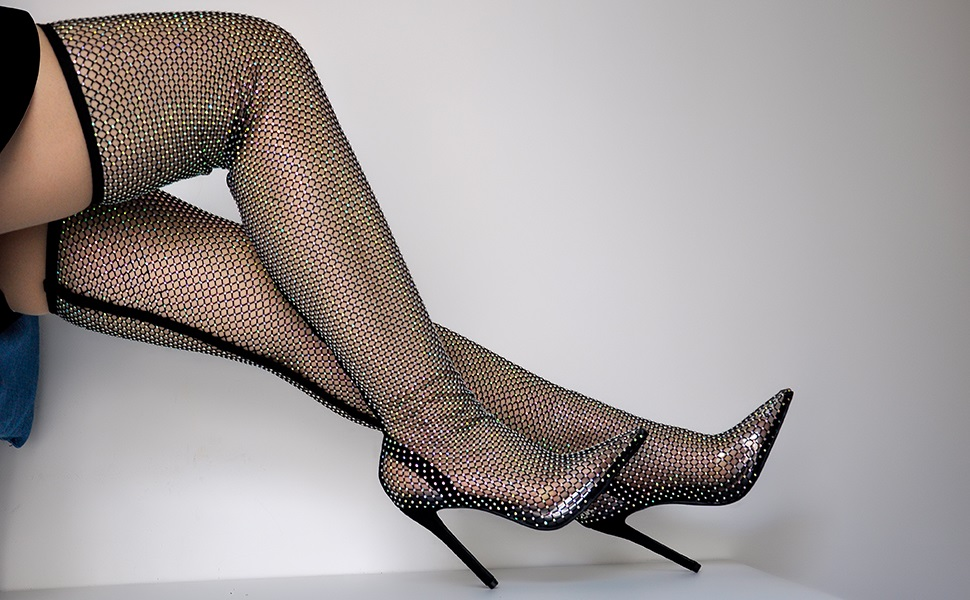 Richealnana Sparkly Diamante Boots for Women Over The Knee High