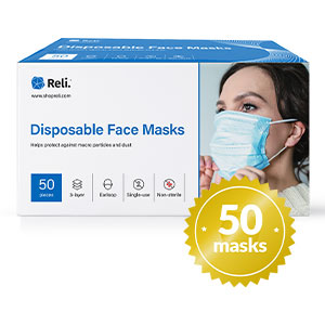Face Masks Disposable Protection breathable dust 50 pack mouth ear grade 3 ply layer earloop blue