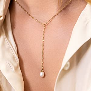 benevolence la drop y pearl necklace for women 14k gold dipped single pearl