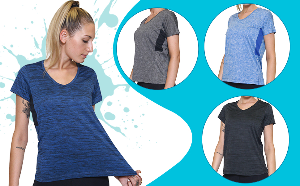 Amazon.com: 5-Pack Women's Short Sleeve V-Neck Activewear T-Shirt Dry-Fit  Moisture Wicking Perfomance Yoga Top: Clothing
