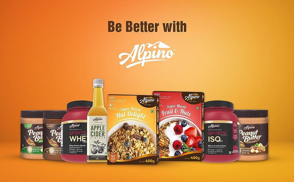 alpino, peanut butter, whey protein, apple vinegar cider, museli, breakfast, healthy, be better, fit