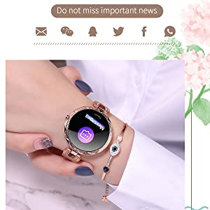 message reminder notification bluetooth watch SMS call smart watch gold silver pink luxury fashion
