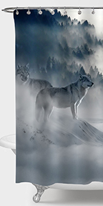 Wolf in Wild Forest Nature Scenic Shower Curtain