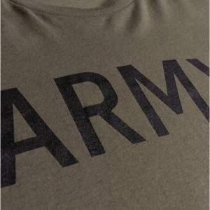 close photograph of army wordmark printed in black across the chest of an od green (olive drab) tee