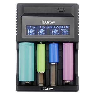 iEGrow Cargador de Pilas 4 Ranuras Cargador Batería de 18650, 26650, 18500, 18350, AA, AAA, AAAA, C Ni-MH, Ni-CD 3.7V Batería Recargable con VA LCD ...