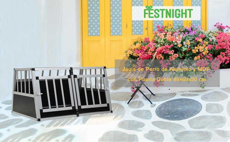 FESTNIGHT Jaula de Perro de Aluminio y MDF con Puerta Doble ...