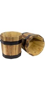 Cylinder Wood Barrel Planters