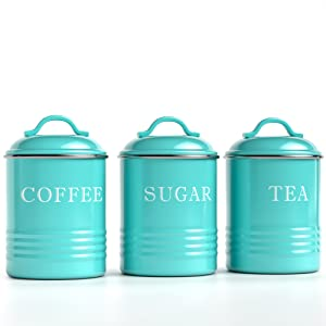 main photo for Kitchen Canisters with Lids Turquoise Metal