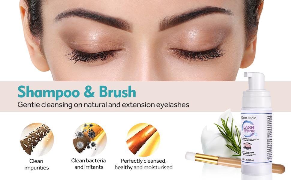 Eyelash extension shampoo kit