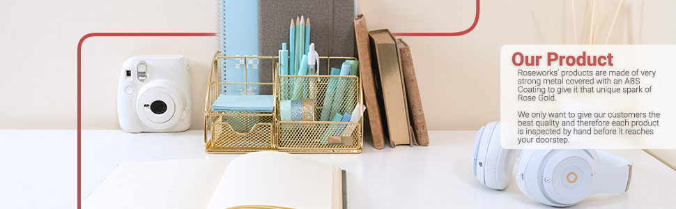 gold desk organizer with camera next to it along with books and headphones, holds accessories desk