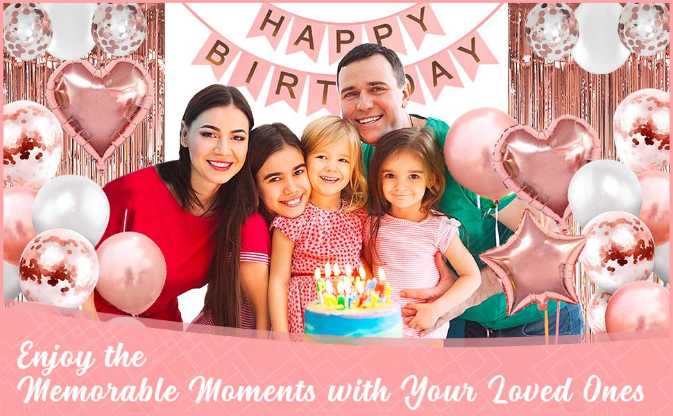 Premium Rose Gold Birthday Decoration Set