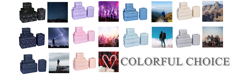 colorful choice packing cubes