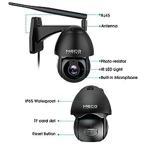MECO Telecamera Wifi Esterno Dome 360 /° Telecamera di Sorveglianza 1080P PTZ Videocamere Sicurezza IP Cam Visione Notturna Impermeabile Audio 2 Vie Motion Detection Avviso di Rilevamento con Alexa