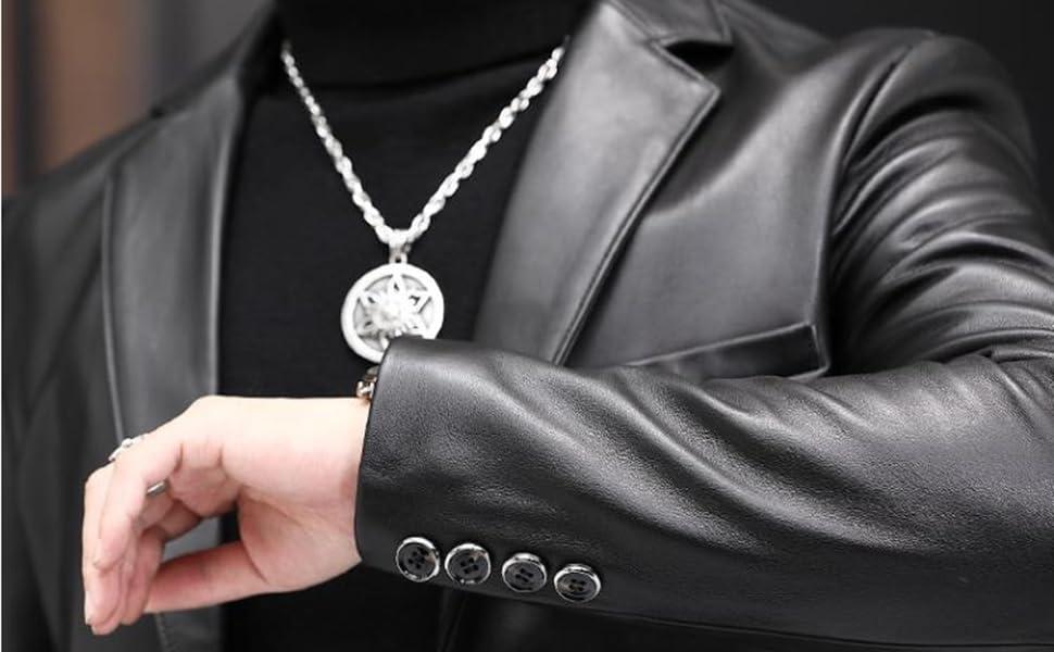 Leather blazer for men