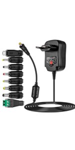 Universal AC/DC Adaptor Plug Power Supply with 8 Removable Plugs for 3V-12V Household Electronics