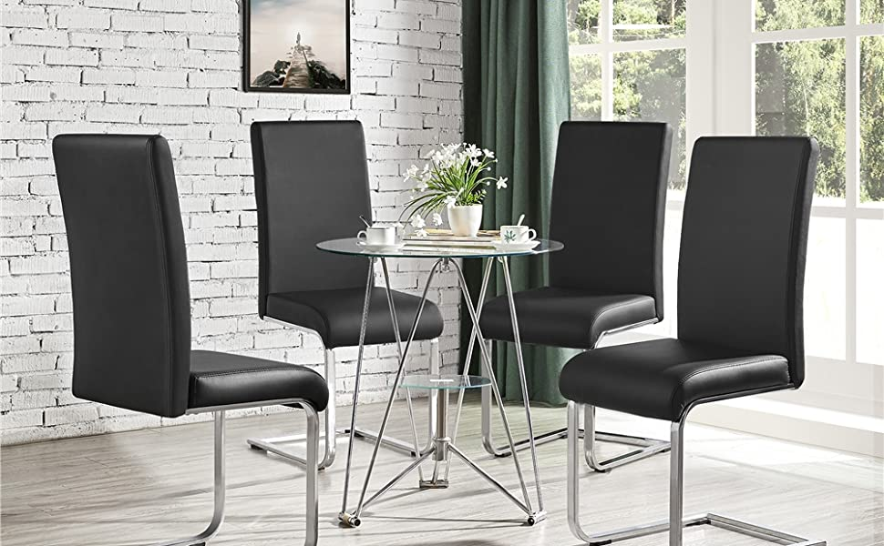 High Back PU Leather Dining Chairs
