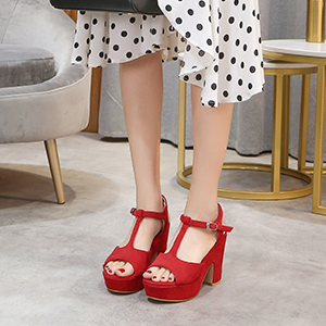 Women's T-Strap Platforms Wedges Sandals Suede Peep Toe Block Chunky High Heels Pumps