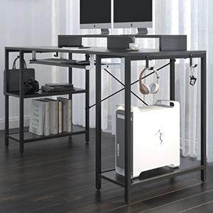 computer desk with monitor shelf