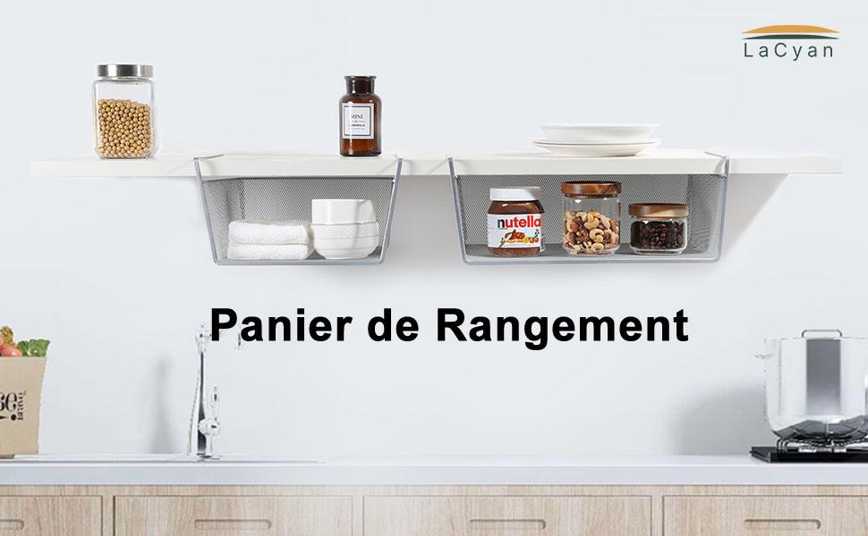 LaCyan Panier de Rangement Paniers Suspendus en m/étal Panier sous Etag/ères pour Armoire Armoires de Cuisine S Lot de 2