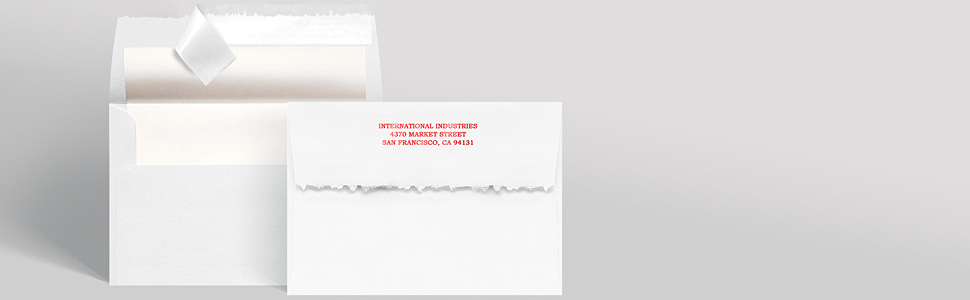 Displays our envelopes and highlights the return addressing and the peel amp; seal self adhesive.