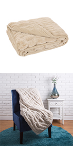 """50""""*60"""" Faux Fur Elastic Throw/Blanket, Beige (Face Fabric  1000gsm; Back 210gsm)"""