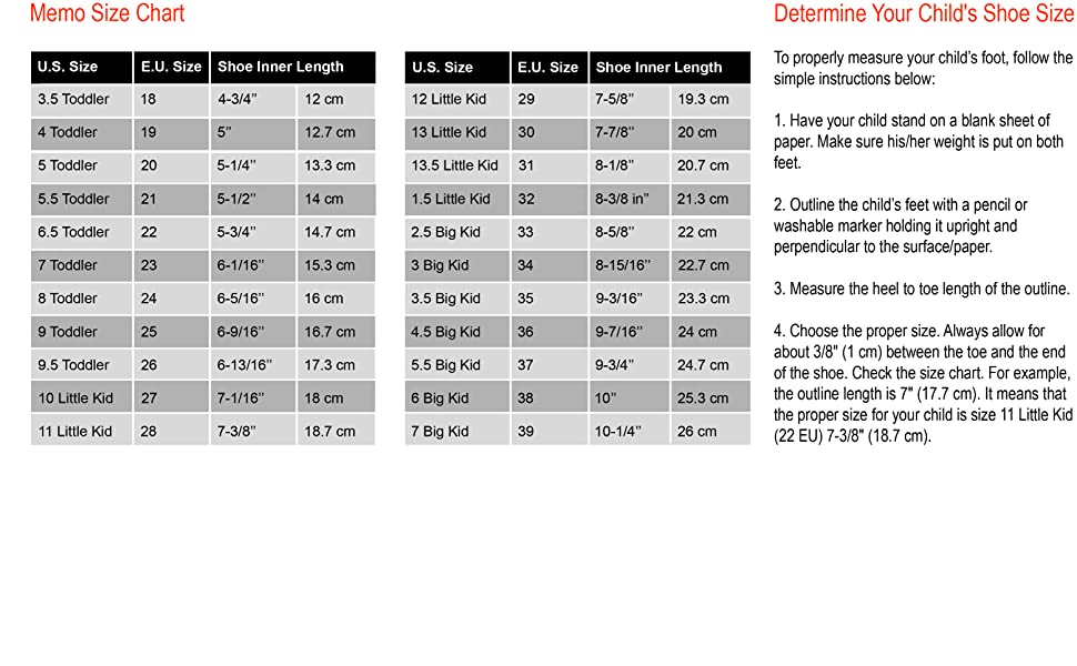 Memo Size Chart