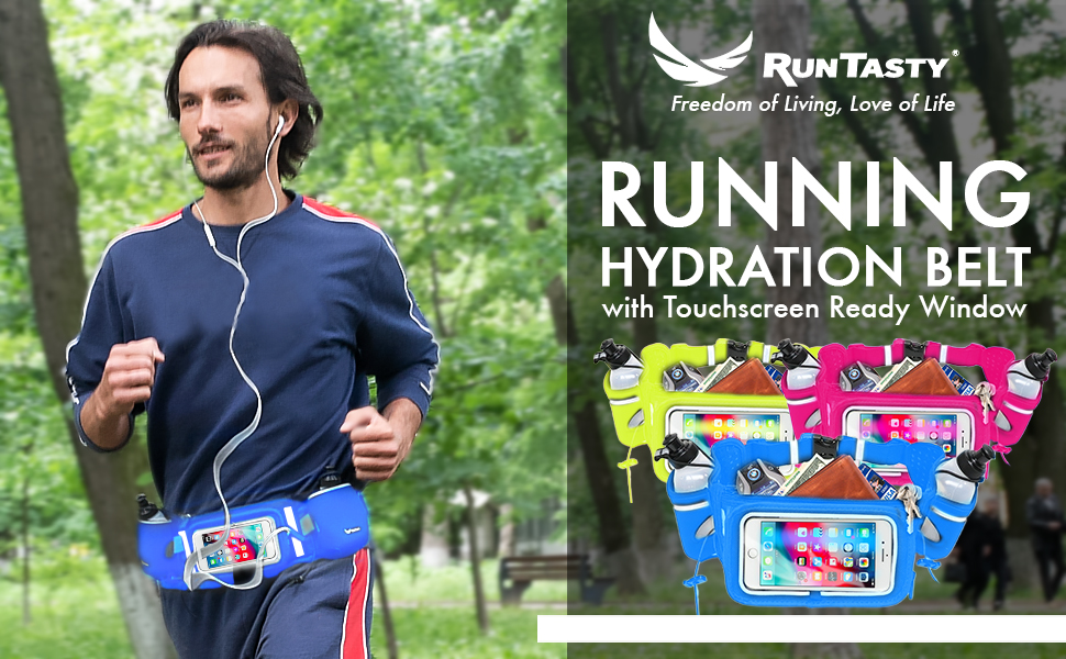 running hydration fuel belt iphone touchscreen dual pocket pink blue green lime