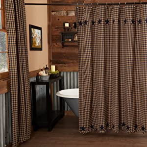 Navy Star Shower Curtain primitive country rustic Americana VHC Brands bath lined cotton check star