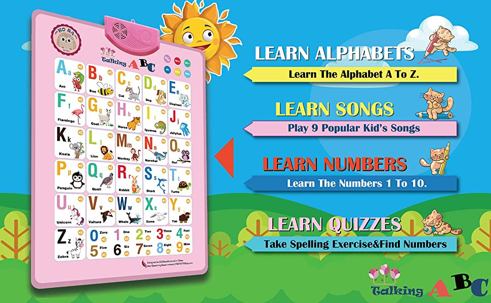 Wall Chart.ABC & 123s Music Talking Poster Educational Toys