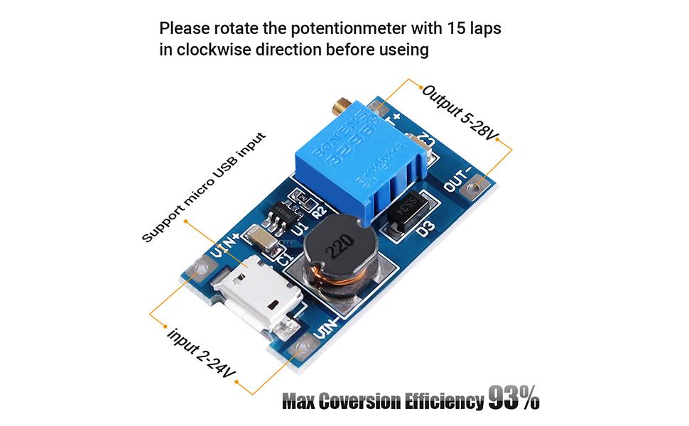 Mini Step-up Voltage Converter Module 0~5V to 0~10V//0~12V//0~24V Boost Board G8L4