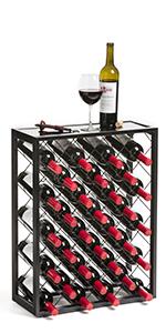 free standing iron metal 32 bottle wine rack with shelf glass top