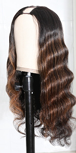 colored u part body wave wig