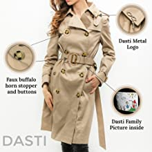 Details of trenchcoat for women is horn buttons and belt