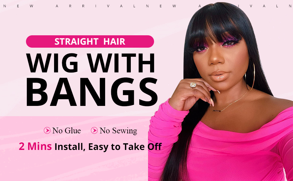 straight human hair wigs with bangs